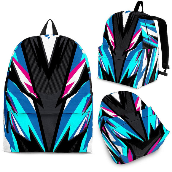 Racing Style Light Blue & Pink Vibe Backpack