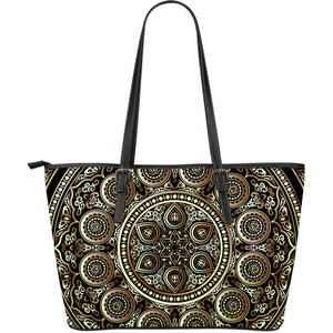 Ornamental Magical Gold Large Leather Tote Bag