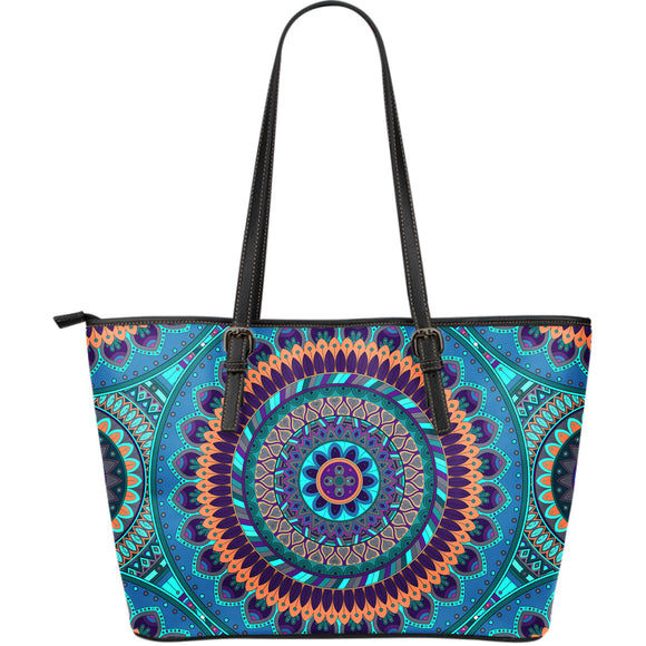Oriental Ornamental Mandala Large Leather Tote Bag