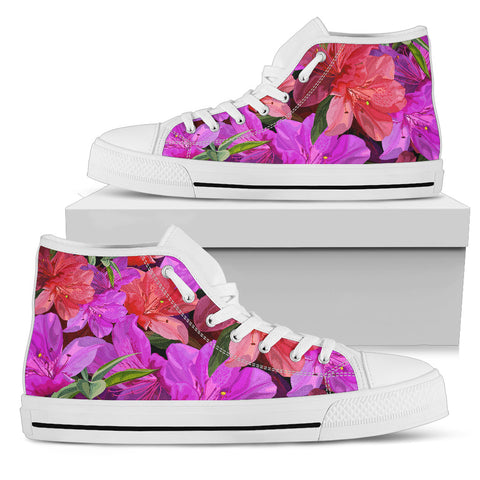 Beautiful Pink Flower Azalea Women's High Top Shoes