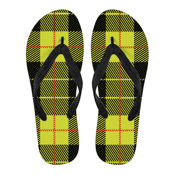Yellow Tartan Passion Women's Flip Flops
