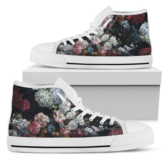Dark Floral Love High Top Shoes