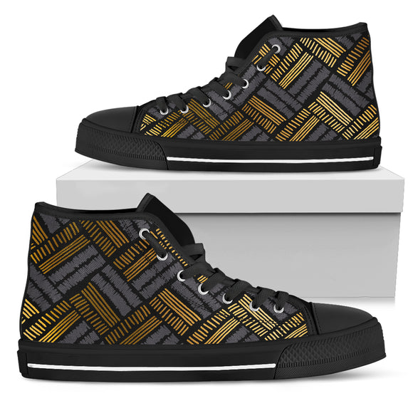 Glittering Gold Love Men's High Top Shoe