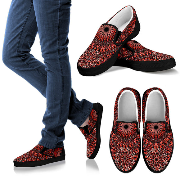 Red Spiritual Mandala Men's Slip Ons
