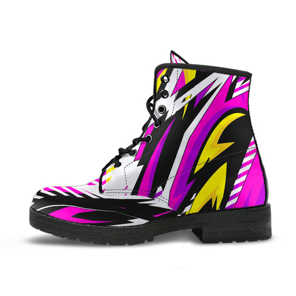 Racing Style Pink & White Unisex Leather Boots