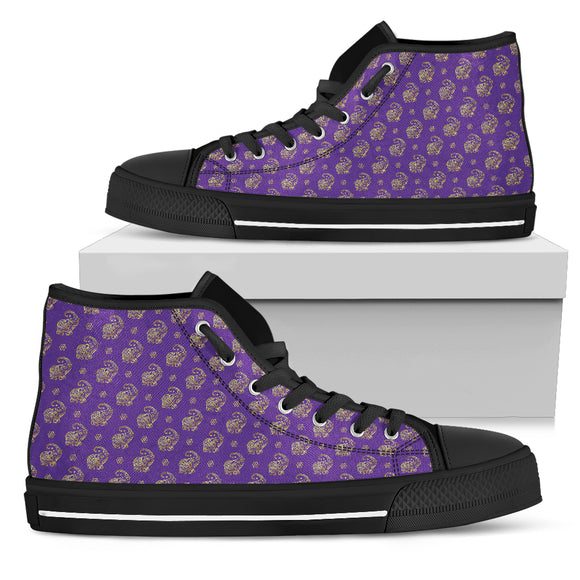 Lucky Purple Elephant Men's High Top Shoes