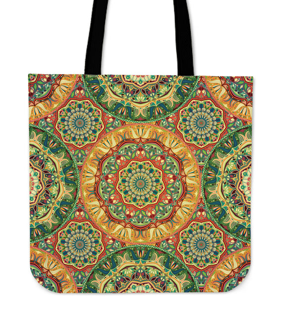 Yellow & Green Style Mandala Cloth Tote Bag
