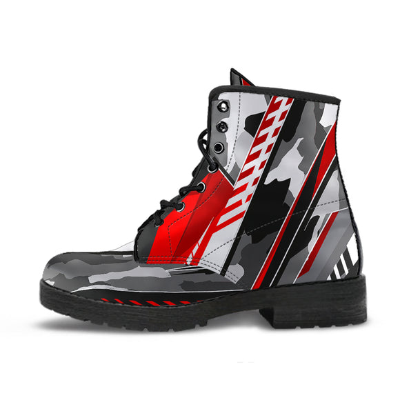 Racing Army Style Red & Grey Unisex Leather Boots