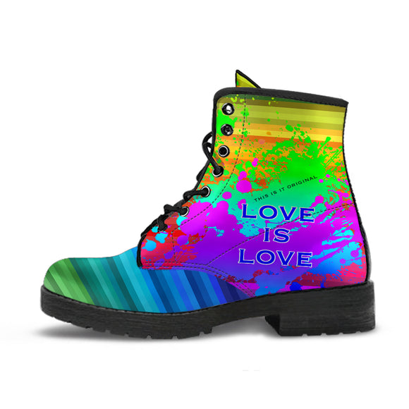 Love is Love. Rainbow Design Art With Neon Splash Leather Boots
