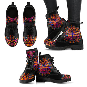 Colorful Red Mandala Dragonfly Blue Wings Handcrafted Boots