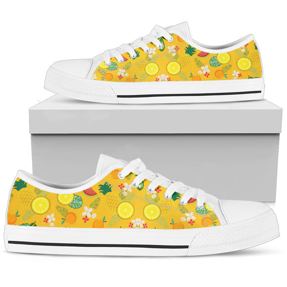 Yellow Fruits Parade Women's Low Top Shoes