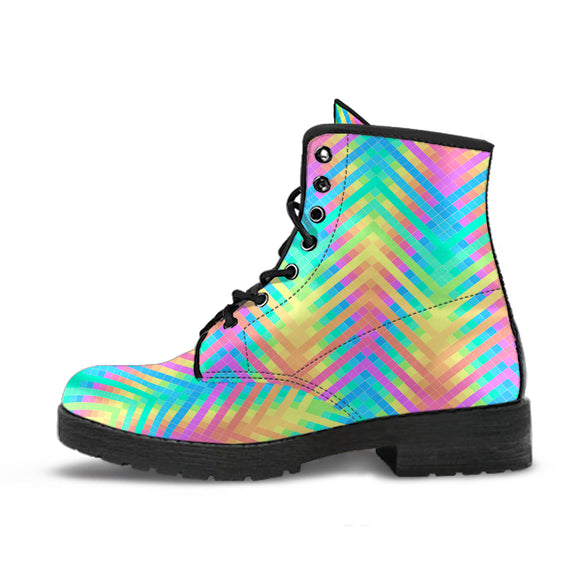 Psychedelic Rainbow Neon Handcrafted Boots