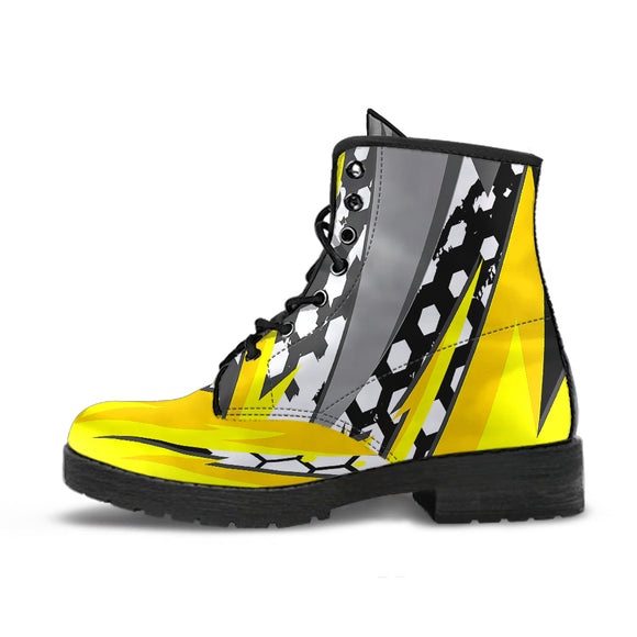 Racing Style Yellow & Grey Unisex Leather Boots