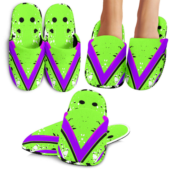 Racing Style Neon Green & Violet Vibes Slippers