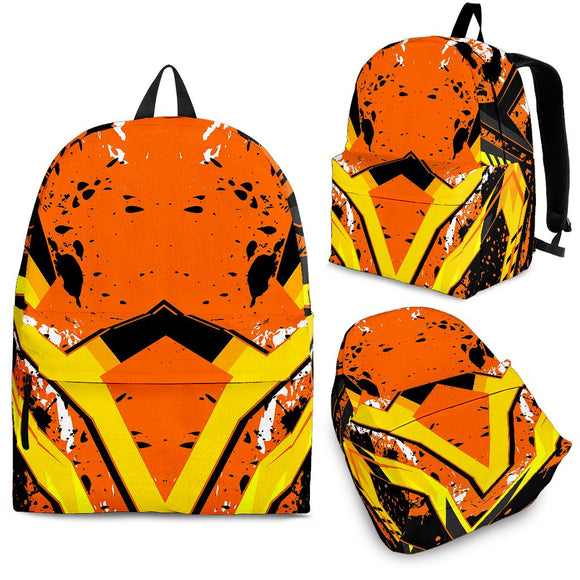 Racing Style Wild Orange & Yellow Stripes Vibes Backpack
