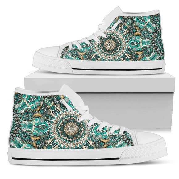 Ornamental Magical Green Dream Men's High Top Shoes