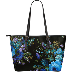 Amyrie Blue Flower Miracle Leather Tote Bag