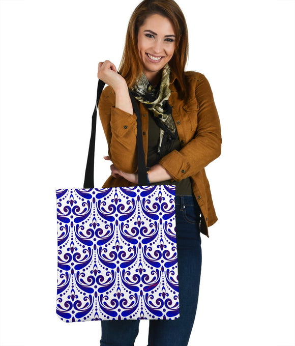 Amazing Traditional White & Blue Ornaments Vibes Four Cloth Tote Bag