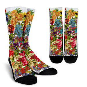 Lovely Floral Festival Crew Socks
