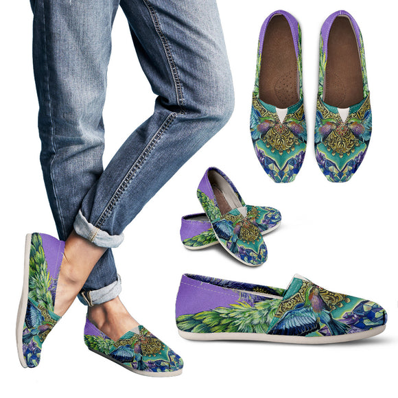 Purple Hummingbirds Woman's Casual Shoes