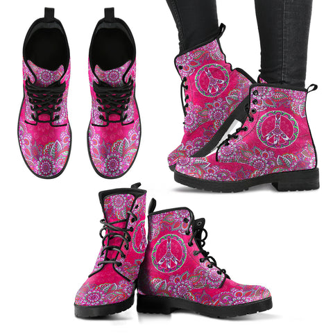Pink Peace Mandala Handcrafted Boots