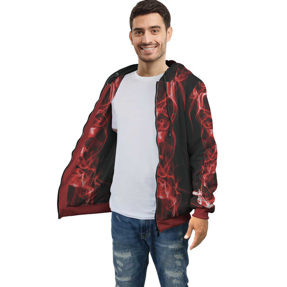 Black & Red Smoke Zip Hoodie