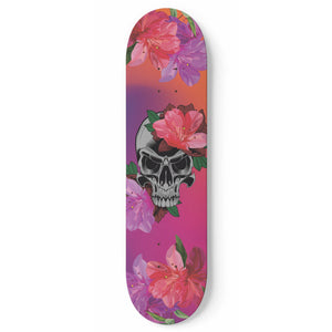 Flowery Skull Skateboard Wall Art