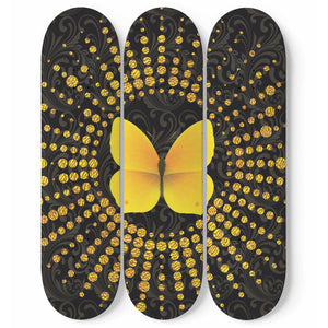 Glittering Butterfly Skateboard Wall Art
