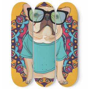 Yoga Pug Skateboard Wall Art