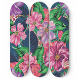 Flowery Pink Skateboard Wall Art