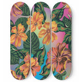 Orange Flowers Skateboard Wall Art