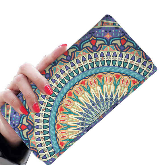 Ornamental Sky Blue Woman Wallet Purse