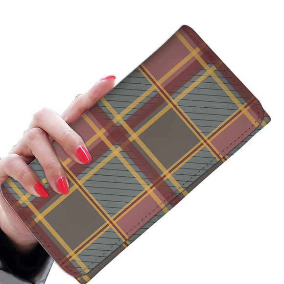Luxury Brown Tartan Woman Wallet Purse