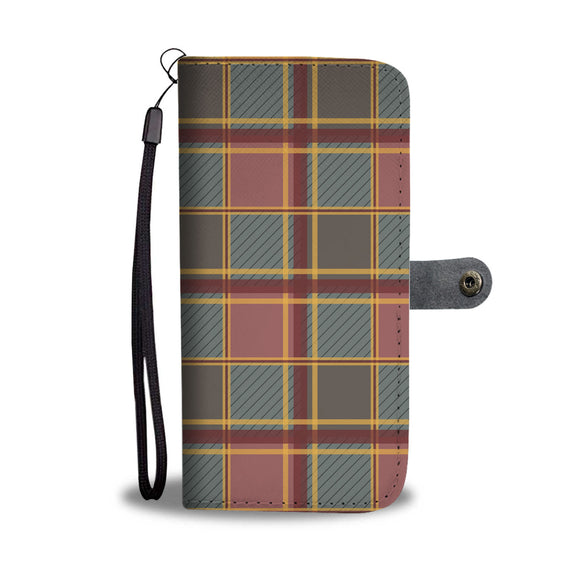Luxury Brown Tartan Wallet Phone Case