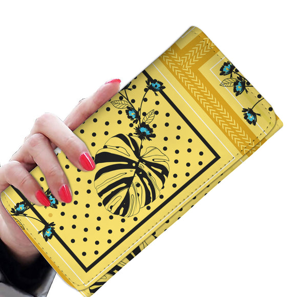 Yellow Dots Garden Woman Wallet Purse