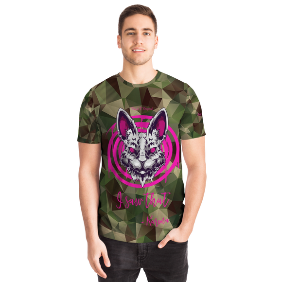 Psycho Rabbit - I Saw That - Karma - Army Geometric Camouflage Design T-shirt