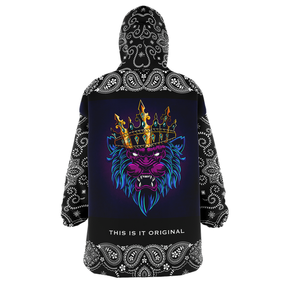 Colorful Tattoo Angry Lion King Design with Black Paisley Bandana Sleeve Style XXL Oversized Snug Hoodie