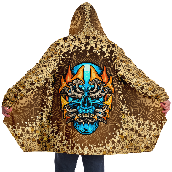 Gold Mandala Design With Psychedelic Light Blue Skull & Mushrooms Hooded Micro Fleece Cloak