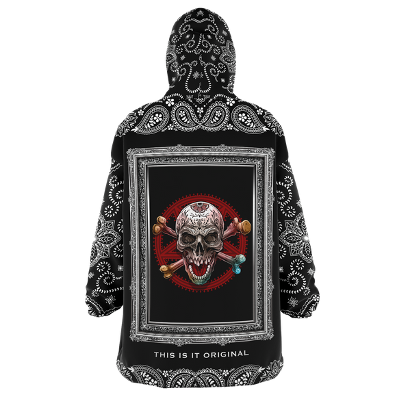 Angry Skull in Silver Frame Design with Black Paisley Bandana Sleeve Style XXL Oversized Snug Hoodie