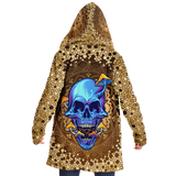 Gold Mandala Design With Psychedelic Dark Blue Skull & Mushrooms Hooded Micro Fleece Cloak