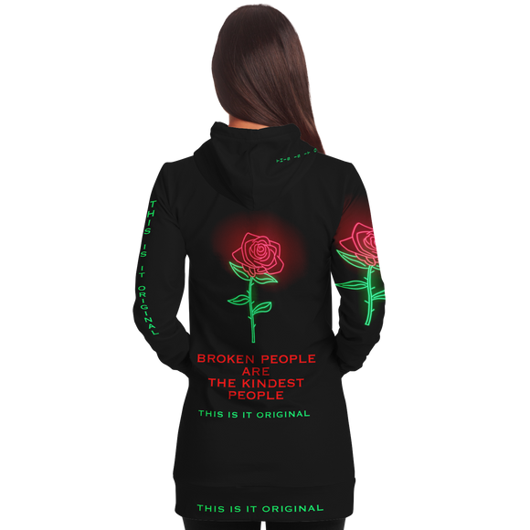 Black & Neon Rose Design The Kindest People Style Women's Hoodie Dress