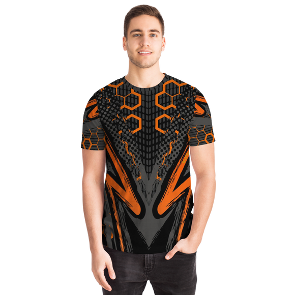 Special Racing Black Edition With Orange Hexagon Design T-shirt