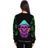 Psychedelic Violet Skull with Cannabis Art Work on Sleeves Design Luxury Fashion Unisex Sweatshirt