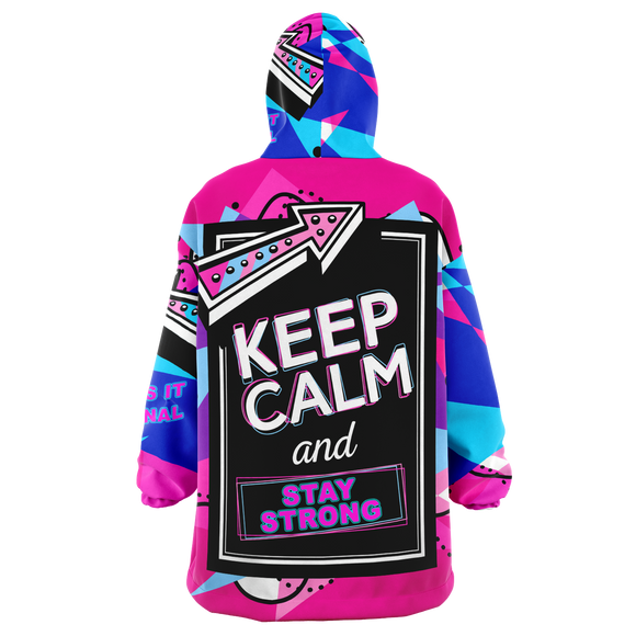 Pink Painted Stylish Art Keep Calm & Stay Strong XXL Oversized Snug Hoodie