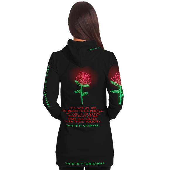 Black & Neon Rose Design Toxic People Style Women's Hoodie Dress