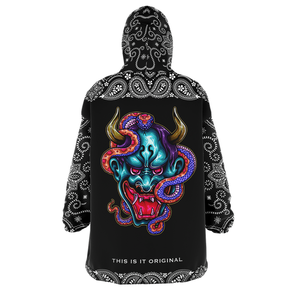 Colorful Tattoo Devil Design with Black Paisley Bandana Sleeve Style XXL Oversized Snug Hoodie