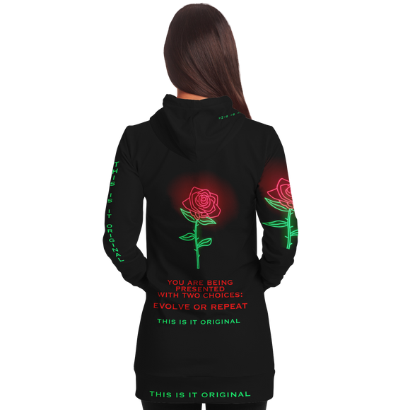 Black & Neon Rose Design Evolve or Repeat Style Women's Hoodie Dress