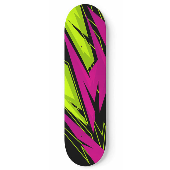 Racing Style Neon Pink & Green Vibe Skateboard Wall Art