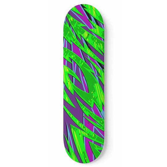 Racing Style Neon Green & Purple Vibe Skateboard Wall Art