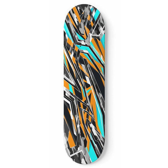 Racing Army Style Light Blue & Orange Vibe Skateboard Wall Art